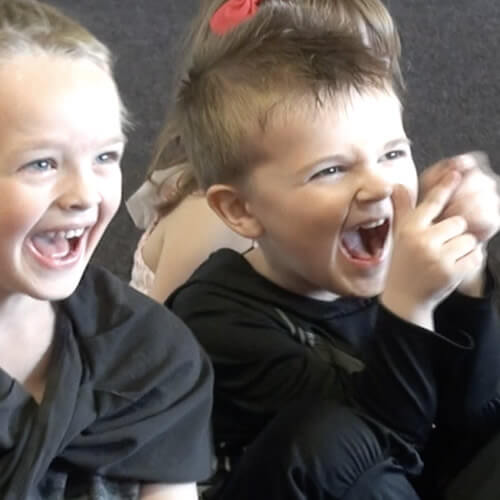 Audience laughing at a children's entertainer
