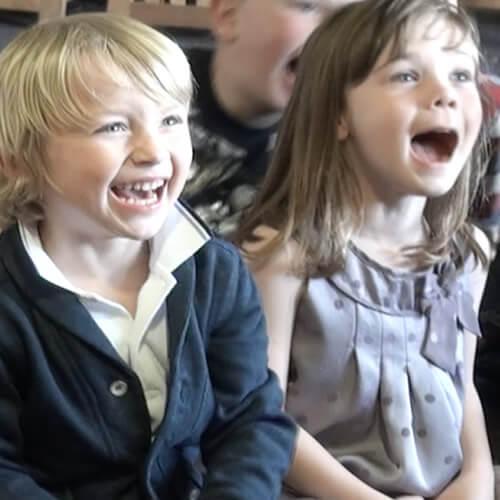 Children laughing at derbyshire children's entertainer
