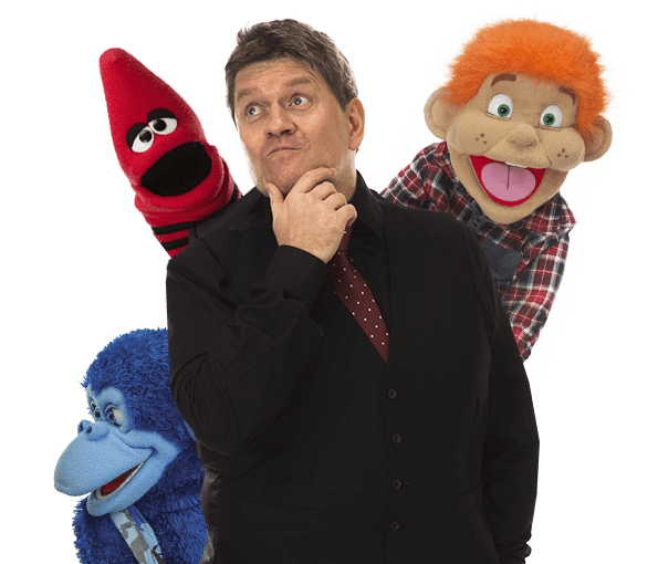 Children's party magician Kimmo with Charlie, Red Crayon and Jambo the Gorilla