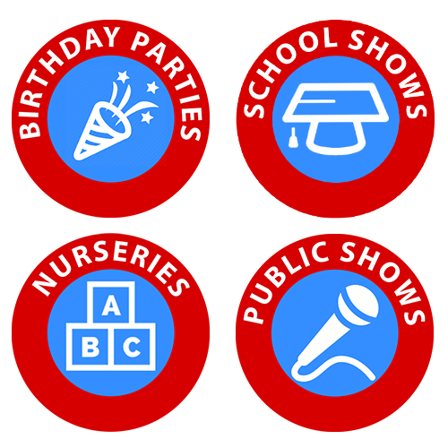 Icons depicting services provided by a children's entertainer