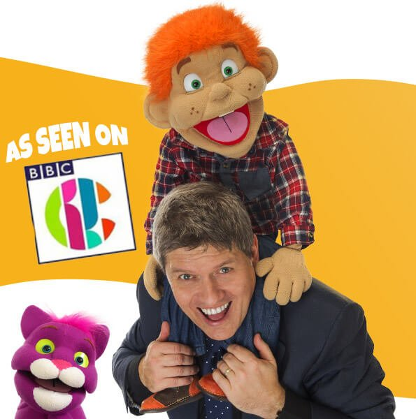 CBBC logo with sheffield children's entertainer kimmo