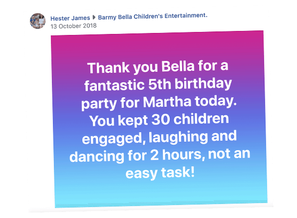 Facebook reviews for children's entertainer Rotherham