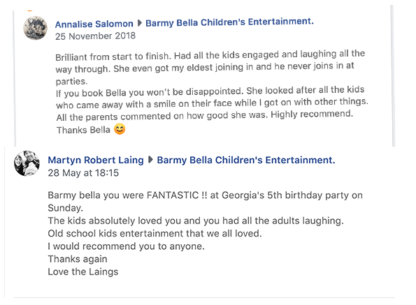 Reviews of children's entertainer from Chesterfield, Barmy Bella facebook screenshots