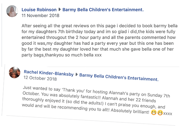 Reviews for Barmy Bella, children's entertainer in Matlock