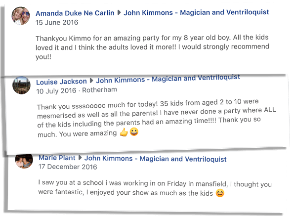 Reviews of children's entertainer Sheffield. Screenshots of Facebook.