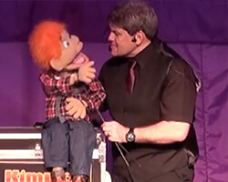Kimmo children's entertainer sheffield with Charlie