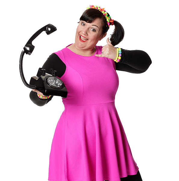 Female kids party entertainer on the phone